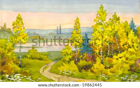 Watercolor landscape. A narrow path winds its way among the yellowing of young trees to the lake in the valley - stock photo