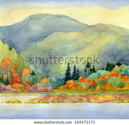 Watercolor landscape. Autumn forest under mountains near lake - stock photo