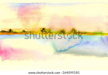 Watercolor landscape. Bright colors of daybreak on the lake. Romance. - stock photo