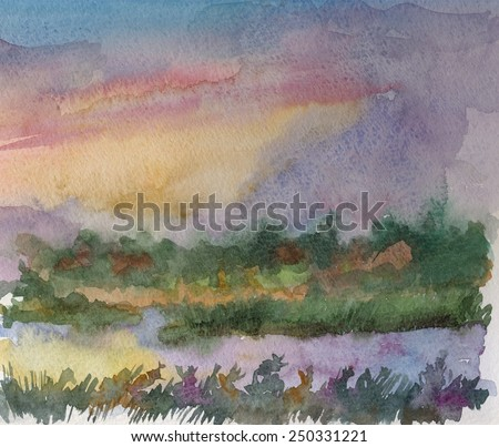 Watercolor landscape of summer sunset over river - stock photo
