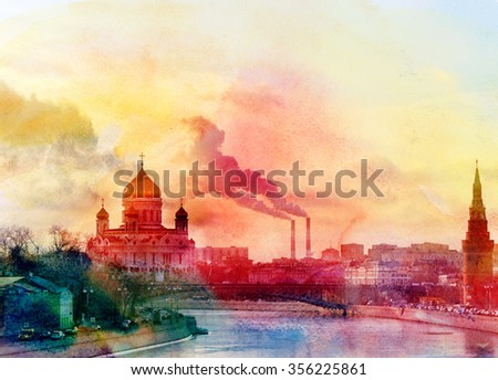 watercolor landscape of the Cathedral of Christ the Savior in Moscow on the river - stock photo
