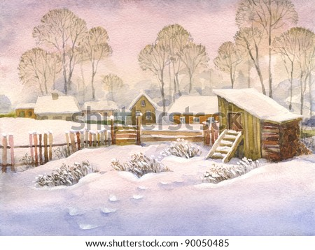 Watercolor landscape of winter village. High snow drifts in the yard with an old wooden fence and shed - stock photo