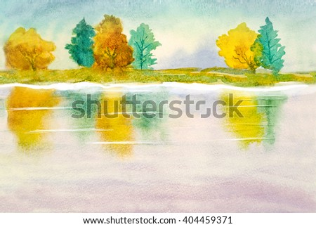 watercolor landscape on abstract nature background theme - stock photo