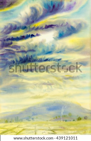 Watercolor landscape original painting colorful of raincloud and emotion in blue mountain background