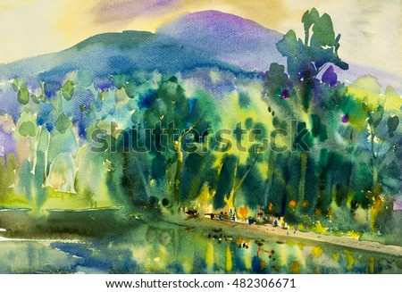 Watercolor landscape original painting colorful of water tower