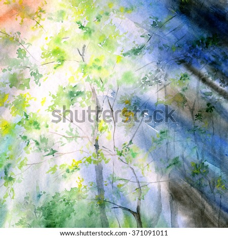 Watercolor landscape. Spring. Sunbeams falling through the trees. Painting forest.  - stock photo