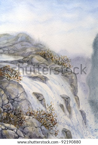 Watercolor landscape. The majestic mountain waterfall rushes into the gorge from steep cliff - stock photo