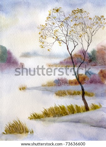 Watercolor landscape. The quiet, snow-covered lake wrapped up the morning mist