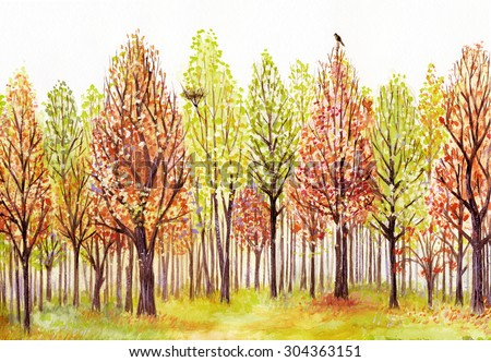 Watercolor landscape with autumn trees