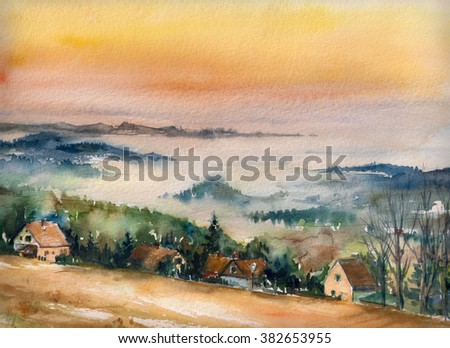 Watercolor landscape with mist and rising sun. - stock photo