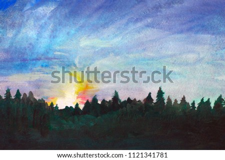 Watercolor Landscape with Misty trees in Blue and Violet Colors Silhouette of  pine forest against the backdrop of the setting sun.