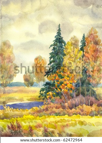 Watercolor landscape. Yellowing trees near a stream in cloudy autumn weather - stock photo