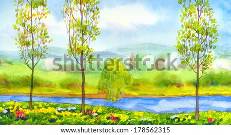 Watercolor landscape. Young poplar trees on the river in a bright spring day - stock photo