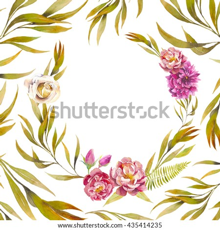 Watercolor leaves and flowers card design. Vintage round frame with tree branch, peony, roses, fern isolated on white background. Floral decorative background