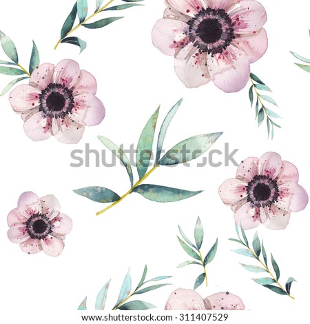 Watercolor leaves and flowers seamless pattern. Vintage wallpaper with pastel  anemones,  branches with mint green leaves on white background. Floral romantic texture  - stock photo