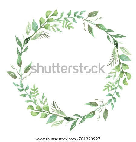 watercolor leaves wreath hand painted leaf stock illustration