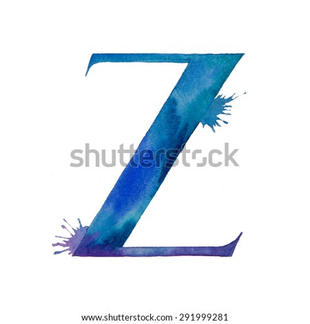 Watercolor letter with drops. Watercolor illustration on white background.