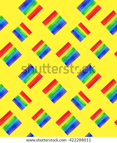 Watercolor LGBT rainbow colors flag seamless pattern Gay Lesbian Bisexual Transgenger love symbol yellow background - stock photo
