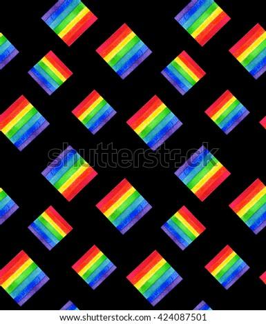 Watercolor LGBT rainbow colors flag seamless pattern Gay Lesbian Bisexual Transgenger love symbol black background - stock photo