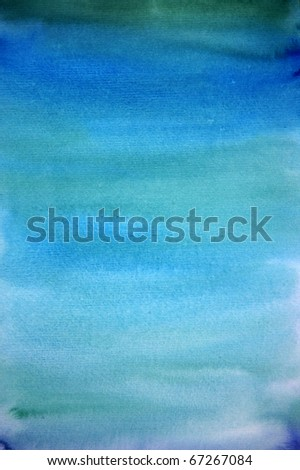 Watercolor light blue hand painted art background for scrapbooking , created by me - stock photo