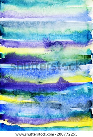 Watercolor light purple stripes. Mixed colors blue, purple and yellow. Bright colors. - stock photo