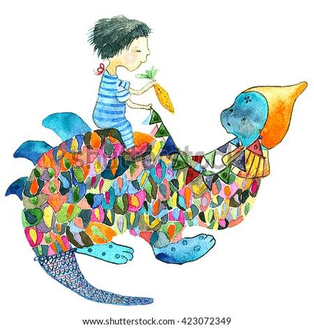 Watercolor little boy on a dinosaur - stock photo