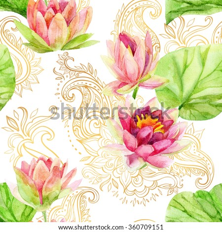 watercolor lotus flower on golden ornament. Watercolor flowers on indian paisley seamless pattern. Hand painted illustration on white background - stock photo