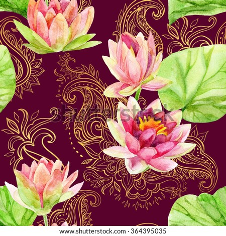 watercolor lotus flower on golden ornament. Watercolor flowers on indian paisley seamless pattern. Hand painted illustration on red background - stock photo