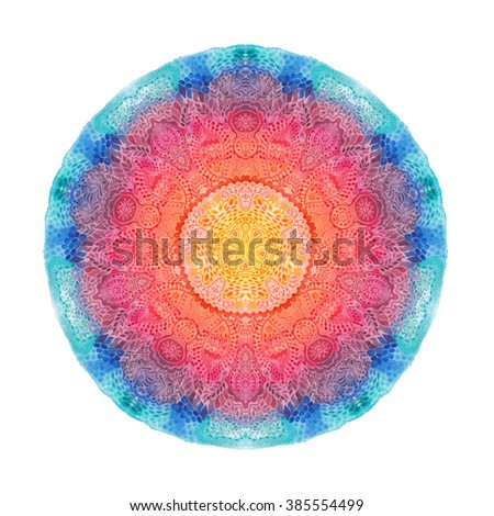 Watercolor mandala. Decor for your design, lace ornament. Round pattern, oriental style - stock photo