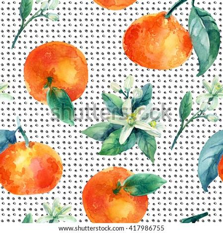 Watercolor mandarine orange fruit with leaves and blossom seamless pattern on white background. Orange citrus tree. Mandarin bloom. Tangerine, leaf, flower in retro style. Hand painted illustration - stock photo