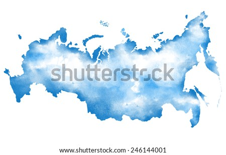 Watercolor map of Russia on white background - stock photo