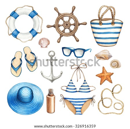 Watercolor marine illustrations - stock photo