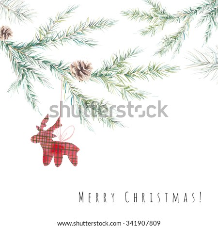 Watercolor Merry Christmas card. Hand painted illustration of spruce branches with pine cone and decorative deer toy isolated on white. Christmas tree background  - stock photo