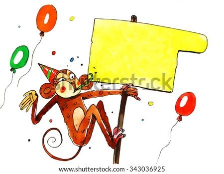 watercolor monkey, cartoon illustration isolated on white background - stock photo