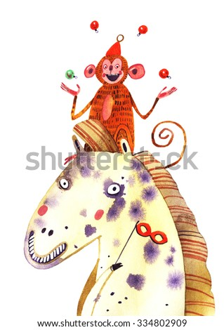 watercolor monkey, horse, new year illustration isolated on white background - stock photo