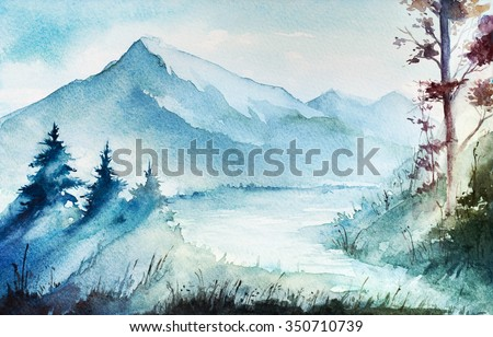 Watercolor mountains, river and trees. - stock photo