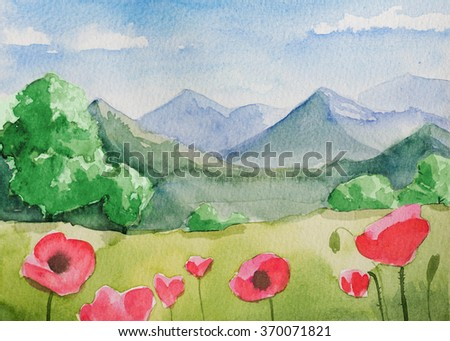 watercolor mountains spring landscape - stock photo