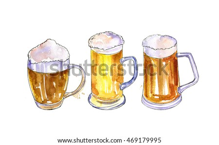 watercolor mugs of beer, alcohol drinks,  hand drawn illustration,oktoberfest template