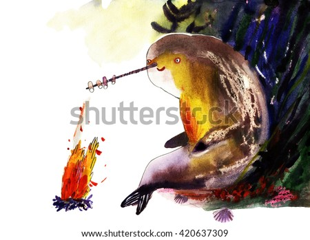 Watercolor narwhal, cartoon illustration isolated on white background - stock photo