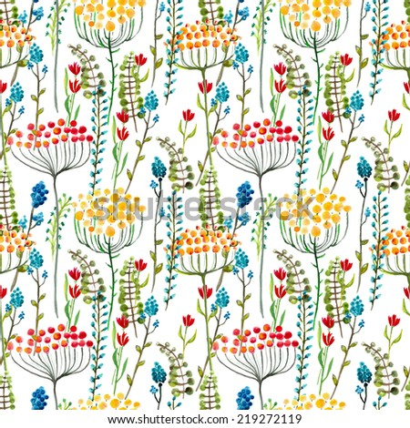Watercolor natural seamless pattern, beautiful endless background - stock photo