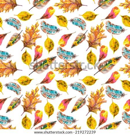 Watercolor natural seamless pattern, beautiful endless background - stock photo