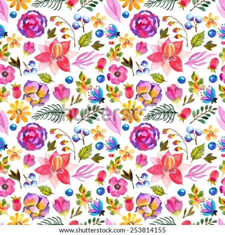 Watercolor natural seamless pattern over white - stock photo