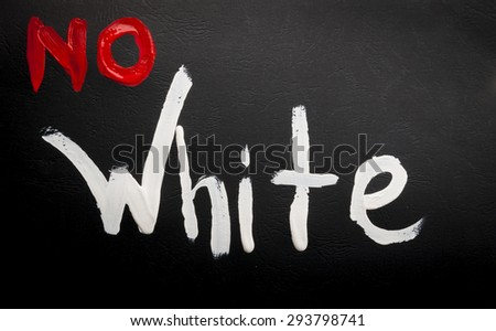 watercolor no white sign over the black board - stock photo