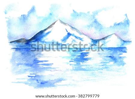 Watercolor North winter ice mountain landscape hand drawn - stock photo