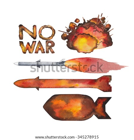 Watercolor  nuclear missiles and explosion isolated on white background - stock photo