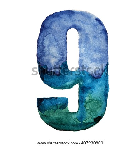 Watercolor number nine in blue colors. Isolated hand painted illustration on white background.