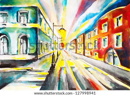 Watercolor of colorful city street - stock photo