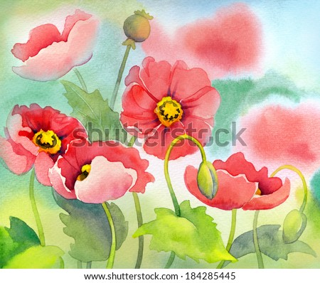Watercolor of pink poppies on green sunny flowerbed - stock photo