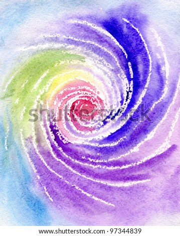 Watercolor of the image a rainbow in the form of a spiral
