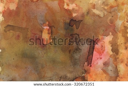 Watercolor orange brown green background. Abstract painting